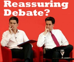 David and Ed Miliband, with headline Reassuring debate?