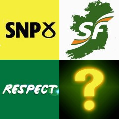 SNP, Sinn Fein, Respect and question mark