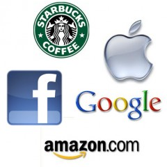 Apple,Amazon,GoogleFacebook & Starbucks logos