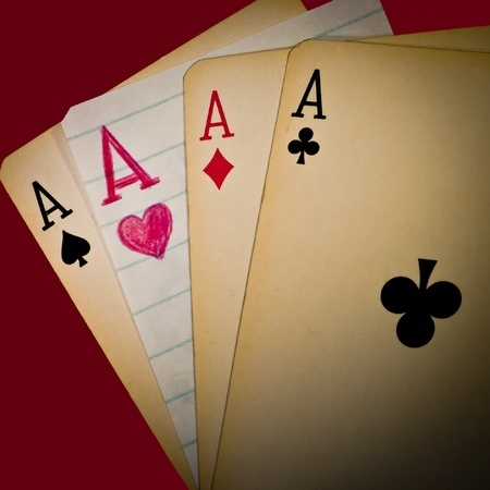 A winning hand of four aces - one of them handmade!