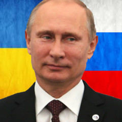 Putin and Ukraine & Russian flags