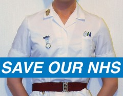 Save our NHS, nurse image by Chris Millett