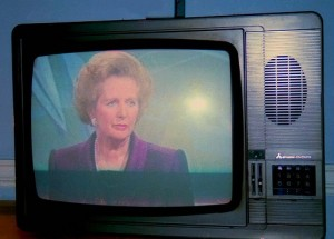 Margaret Thatcher on TV, pic by rahuldlucca http://www.flickr.com/photos/rahul3/2873745549/sizes/o/in/photostream/