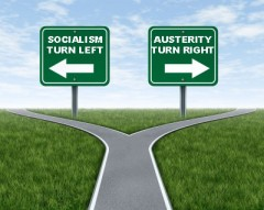 socialism and austerity signs, original pic by 123rf.com