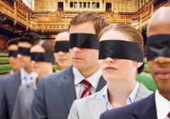 MPs herded blindfolded through the lobbies