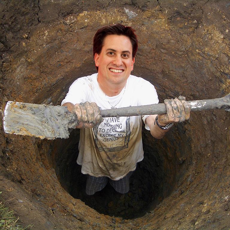 Ed Miliband digging a hole