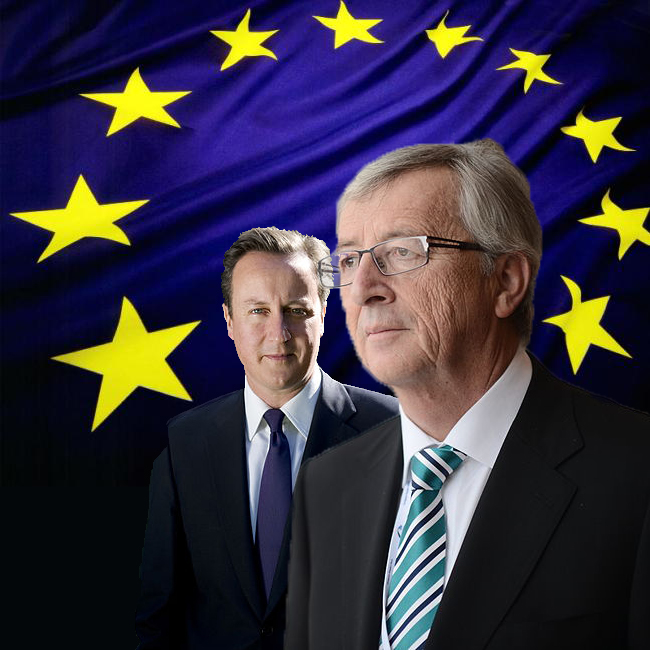 Juncker & Cameron with EU flag