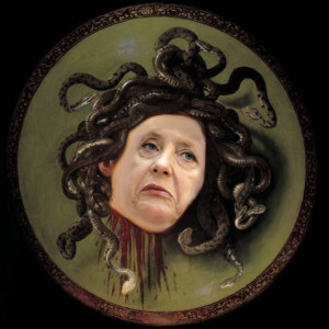 Merkel as Medusa - photo montage by Left Futures with apologies to Caravaggio