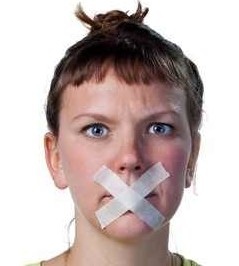 Voiceless person  (gagged)